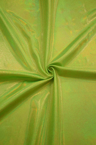 UV Glow Lime Holographic Fabric - Coquetry Clothing