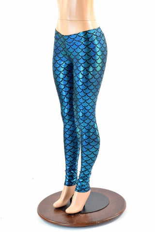 Turquoise Mid Rise Mermaid Leggings - Coquetry Clothing