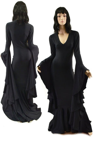Black Zen Morticia Gown with V Neckline & Sorceress Sleeves - Coquetry Clothing