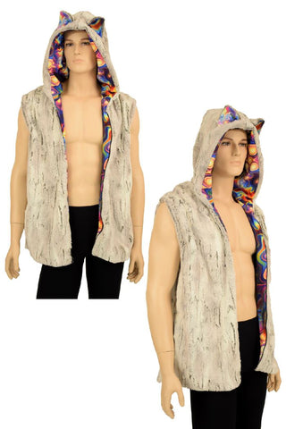 Mens Cat Ear Minky Faux Fur Hooded Vest - Coquetry Clothing