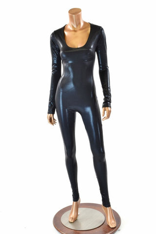 Black Metallic Catsuit - Coquetry Clothing
