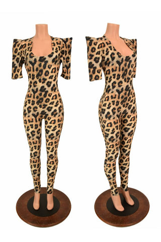 Leopard Sharp Shoulder Catsuit - Coquetry Clothing