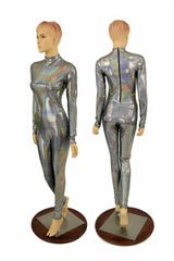 Silver Holographic Short Collar Catsuit - Coquetry Clothing