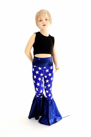 Kids Blue & White Star Bell Bottom Flares - Coquetry Clothing