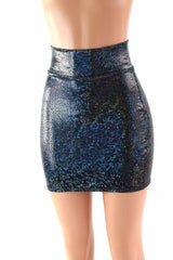 Black Shattered Glass Bodycon Skirt