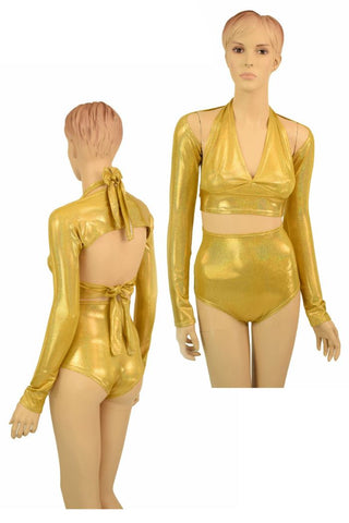 3PC Gold Sparkly Jewel Dance Set - Coquetry Clothing