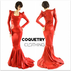 Devil Red Holographic Puddle Train Gown - Coquetry Clothing