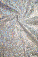 Silver on White Shattered Glass Fabric - Coquetry Clothing