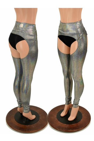 Silver Holographic Chaps - Coquetry Clothing