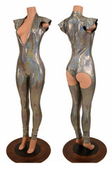 """Silver """"Moon"""" Exposed Rear Catsuit - Coquetry Clothing"""
