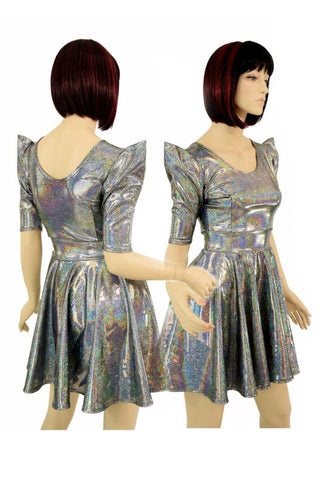 Alien Babe Sharp Shoulder Skater Dress - Coquetry Clothing