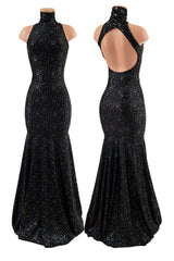 Star Noir Backless Trumpet Gown - Coquetry Clothing