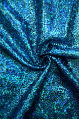 Turquoise on Black Shattered Glass Fabric - Coquetry Clothing