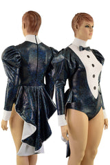 Faux Tux Romper with Tails, Tie, and Turtleneck - Coquetry Clothing