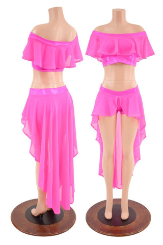 Neon Pink Sheer Mesh Off Shoulder Top & Shorts Set - Coquetry Clothing