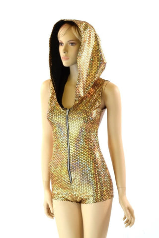 Gold Scale Zippered Romper - Coquetry Clothing