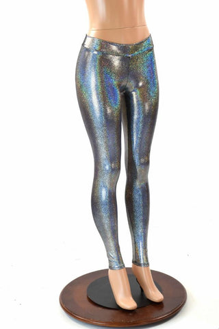 Silver Holographic Mid Rise Leggings