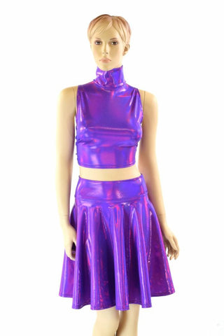 Purple Turtleneck Crop & Skirt - Coquetry Clothing