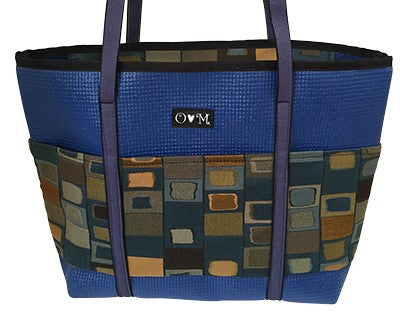 -Molly Royal Blue Squares Tote Bag