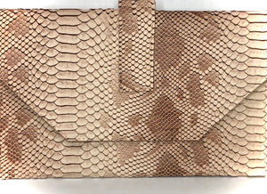 Tan Snakeskin Clutch