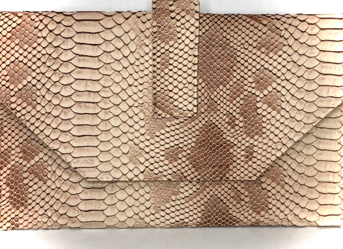 Jewelinx Tan Snakeskin Clutch