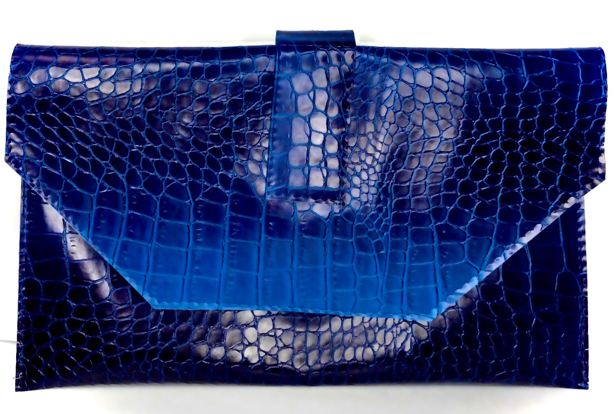 Jewelinx Blue Croc Clutch