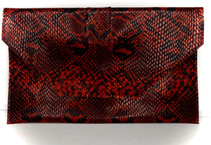 Red Snakeskin Clutch