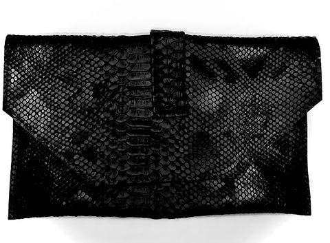 Jewelinx Black Snakeskin Clutch