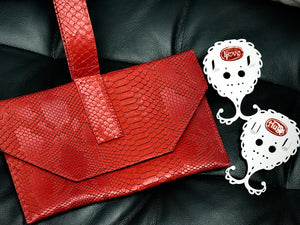 Love & Hugs Jewelinx + Red snakeskin Wristlet giftset