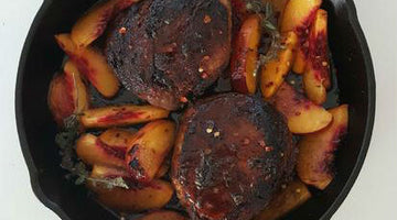 Smoked Honey Balsamic Peach Pork Chops