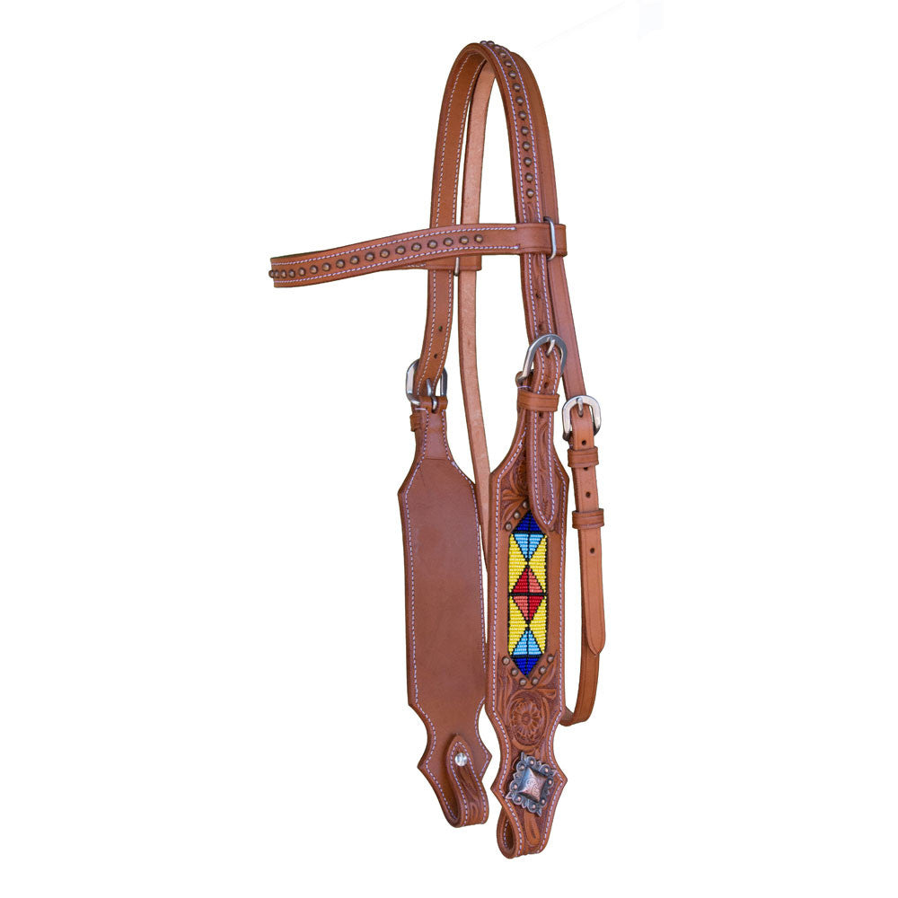 Western Headstall with Studded Brow and Beading - Sterling Steed Enterprises