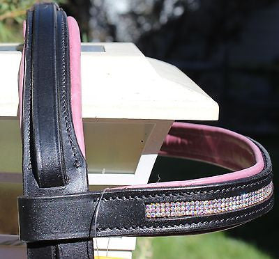Draft Horse Black English Bridle with Orchid padding and Crystals - Sterling Steed Enterprises - 3