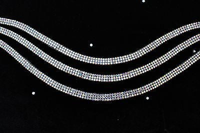 "19"" Sparkly Draft Size Browband Three Strands of Glamor Black Leather - Sterling Steed Enterprises - 2"