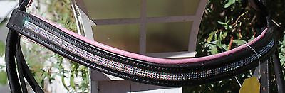 Draft Horse Black English Bridle with Orchid padding and Crystals - Sterling Steed Enterprises - 5