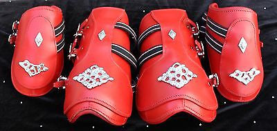 Splint Boots- Red Baroque Horse Boots-Full Size - Sterling Steed Enterprises - 1
