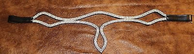 "17"" Small Draft  Horse Black Leather Blingy Teardrop Browband - Sterling Steed Enterprises"