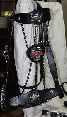 "Skull Bridle with Chains, Black Leather Horse 15"" Browband - Sterling Steed Enterprises - 1"