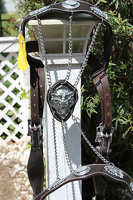 Brown and Silver Baroque Bridle with Lion Face-Small Draft - Sterling Steed Enterprises - 1