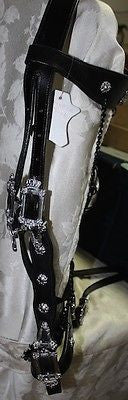 Skull Bridle with Chains, Black Leather Large  Draft - Sterling Steed Enterprises - 6
