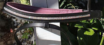 Draft Horse Black English Bridle with Orchid padding and Crystals - Sterling Steed Enterprises - 6