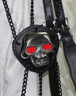 "Skull Bridle with Chains, Black Leather Horse 15"" Browband - Sterling Steed Enterprises - 4"