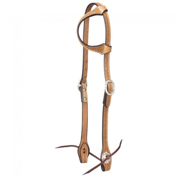 One Ear Horse Headstall - Basket Stamp w/ Silver HardwareTough-1 Leather