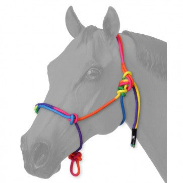 Miniature Horse Tough-1 Multi-Colored Rainbow Rope Halter - Sterling Steed Enterprises