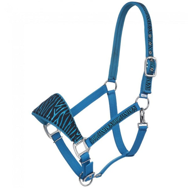 Bronc Nose Horse Padded Halter with Zebra Print