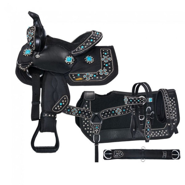 Western Saddle Set-Eclipse by Tough 1® Starlight Collection Pro Miniature Trail Saddle with Turquoise Cross Conchos 5 Piece Package