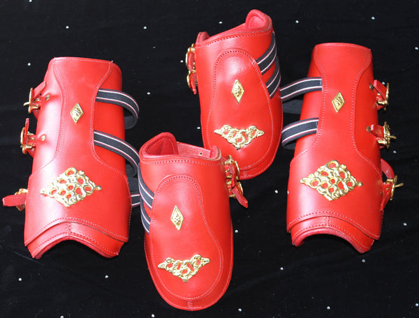Splint Boots- Red Baroque Horse Boots-Full Size - Sterling Steed Enterprises - 2