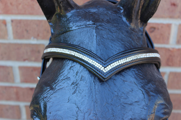 Draft Horse Dressage V-Browband Black Leather Bridle