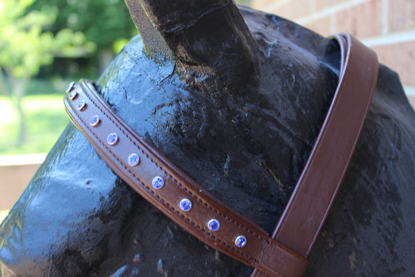 Draft Brown English Bridle with Blue Crystals