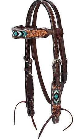 Turquoise Cross Two Toned Pony Browband Headstall