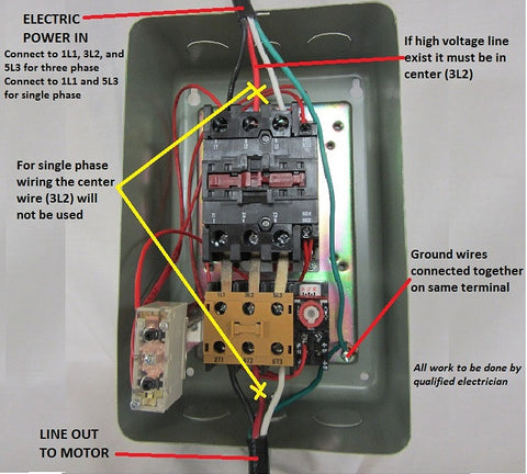 Wiring 3 phase mag starters wiring diagram with description for 1 phase motor starter